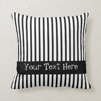 Black and White Stripes Customizable Cushion