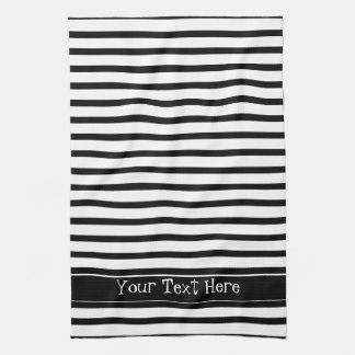 Black and White Stripes Customizable Tea Towel