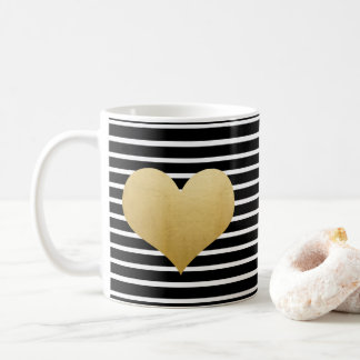 Black And White Stripes |  Faux Gold Foil Heart Coffee Mug