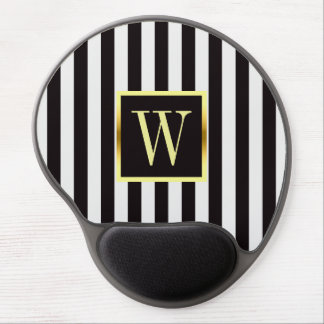 Black and White Stripes Faux Gold Frame Monogram Gel Mouse Pad