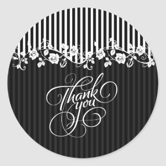 Black And White Stripes & Floral Lace Thank You Stickers