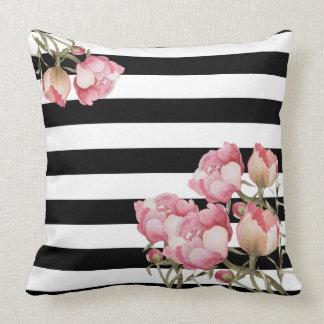 Black and White Stripes Floral Throw Pillow