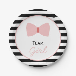 Black and white Stripes Gender Reveal  Bow Paper Plate