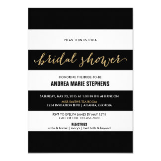 Black and White Stripes Gold Glitter Bridal Shower Card