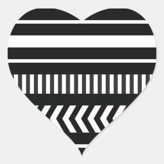 Black and white  stripes heart sticker