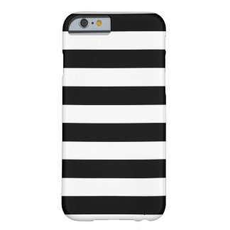 Black and White Stripes Horizontal Barely There iPhone 6 Case