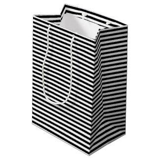 Black and White Stripes Medium Gift Bag
