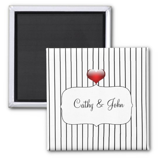 Black and White Stripes Modern Wedding Magnet
