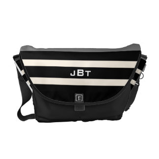 Black and White Stripes Monogram Bag Courier Bags