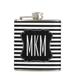 Black and White Stripes Monogram Hip Flask