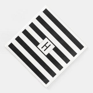 Black and White Stripes Monogram Paper Napkins