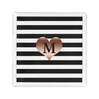Black and White Stripes Monogrammed Serving Tray
