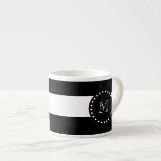 Black and White Stripes Pattern, Black Monogram Espresso Cup