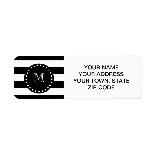 Black and White Stripes Pattern, Black Monogram Return Address Label