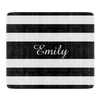 Black And White Stripes Pattern Name Print Cutting Board