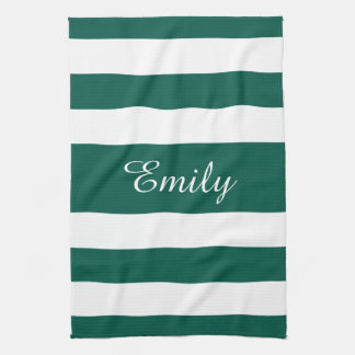 Black And White Stripes Pattern Name Print Tea Towel