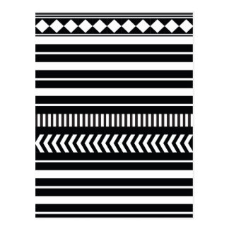 Black and white  stripes postcard