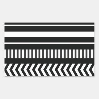 Black and white  stripes rectangular sticker