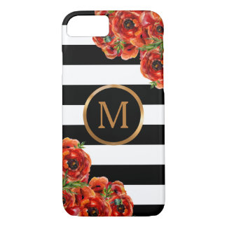 Black and White Stripes, Red Floral Gold Monogram iPhone 8/7 Case