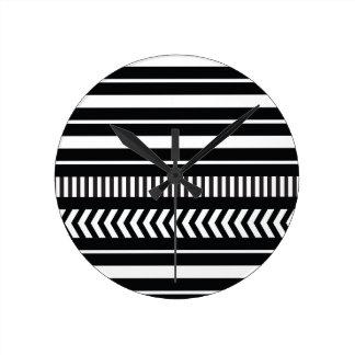 Black and white  stripes round clock