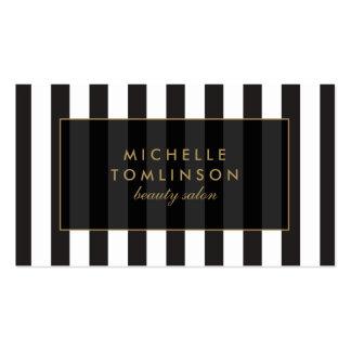 Black and White Stripes Salon III Business Card