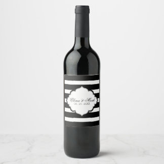 Black And White Stripes- Save The Date Wine Label