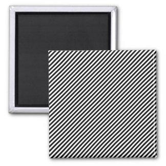Black and White Stripes Square Magnet