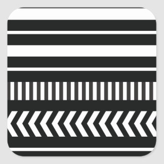 Black and white  stripes square sticker