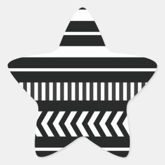 Black and white  stripes star sticker