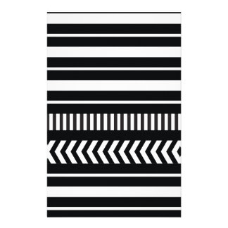 Black and white  stripes stationery