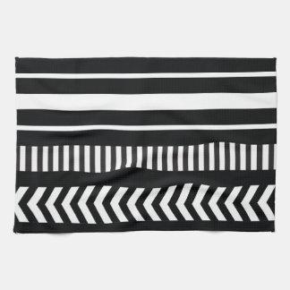 Black and white  stripes tea towel