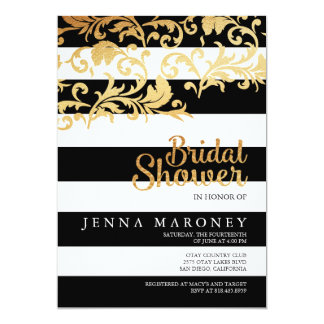 Black and White Stripes w/ Gold Foil Bridal Shower Card