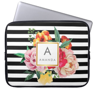 Black and white stripes Watercolor Peony Flowers Laptop Sleeve