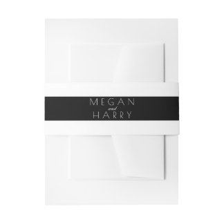 Black and White Stripes Wedding Invitation Belly Band