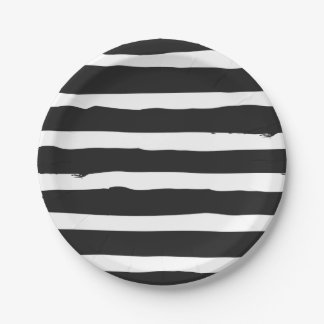 Black And White Stripes Wedding Party Paper Plate