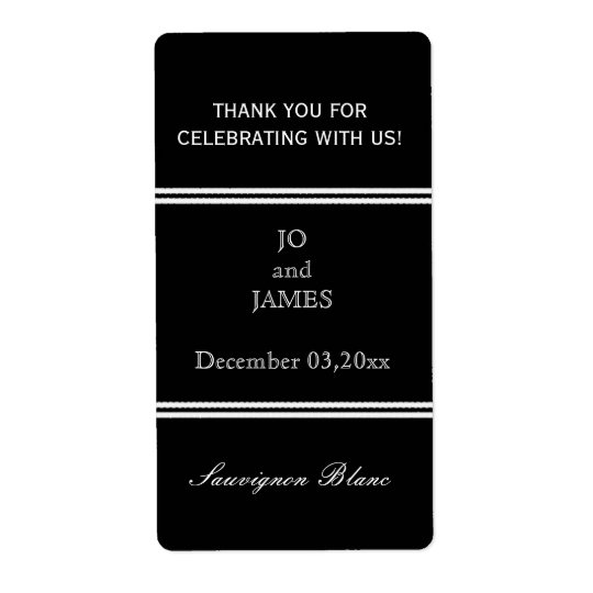 Black and white stripes wedding wine favour shipping label