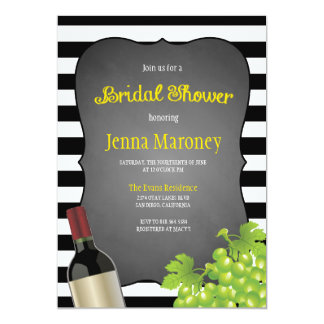Black and White Stripes Wine Grapes Bridal Shower Card