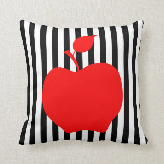 Black and White Stripes with Apple Throw Pillow
