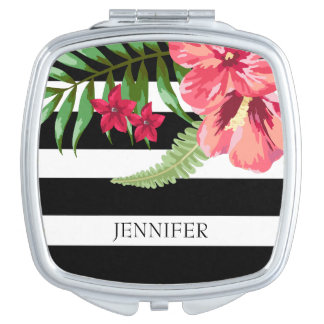 Black And White Stripes With Exotic Flowers Vanity Mirror