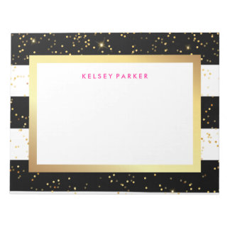 Black and White Stripes with Faux Gold Confetti Notepad