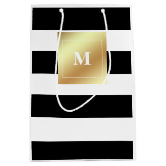 Black and White Stripes with Faux Gold Monogram Medium Gift Bag