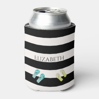 Black and white stripes with flip flop decor can cooler
