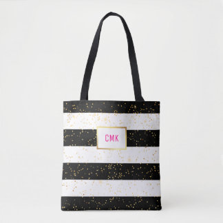 Black and White Stripes with Gold Confetti Tote Bag