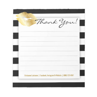 Black and White Stripes with Gold Lips Notepad