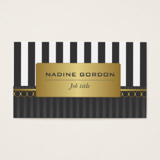 Black and white stripes with gold trim business card
