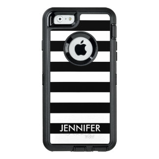 Black and White Stripes With Name OtterBox iPhone 6/6s Case