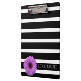 Black and White Stripes With Purple Daisy Clipboard
