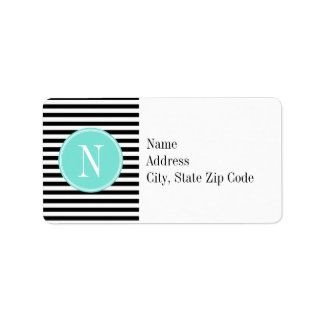 Black and White Stripes with Turquoise Monogram Address Label