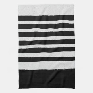 Black and White Stylish Trendy Striped Pattern Tea Towel