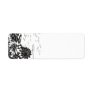 Black and White Succulent Return Address Label